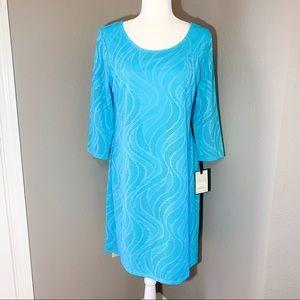 Dana Buchman Electric Blue 3/4 Sleeve Shift Dress